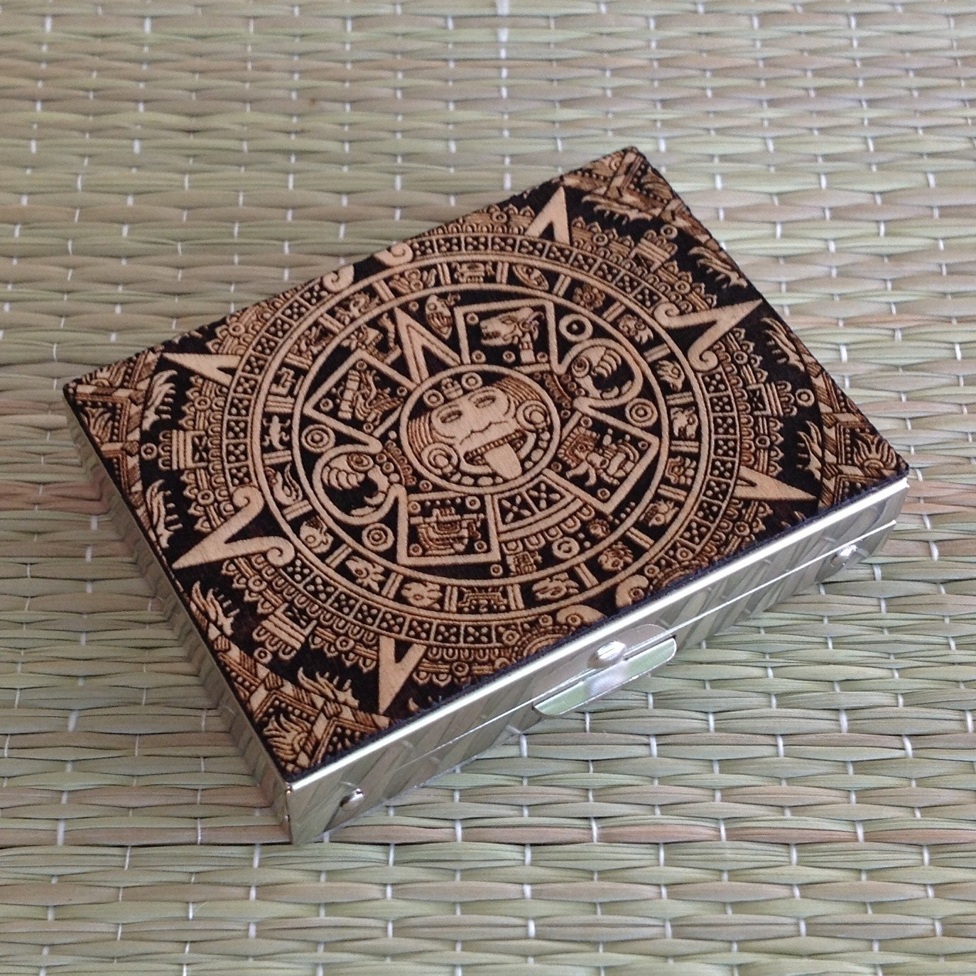 engraved aztec calendar wood pill boxmedication