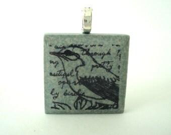 Song Bird Necklace Rubber Stamped Porcelain Tile Pendant