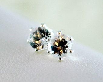 April Birthstone Earrings, Stud Earrings, Genuine White Topaz Gemstone, Child Children Girl, Sterling Silver Jewelry