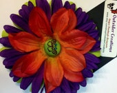 Orange and Purple Butterfly Hair Clip