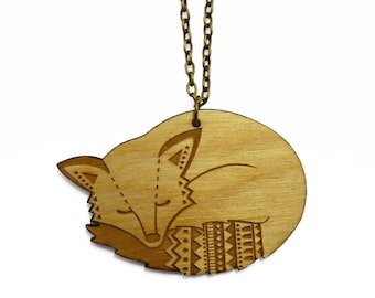 Wooden Fox Necklace