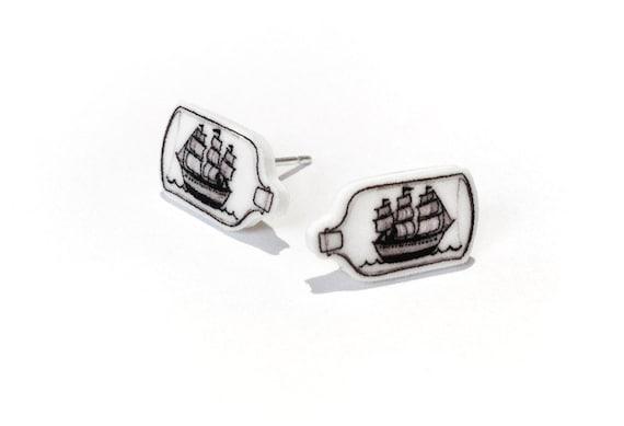 Ship in a Bottle Earrings
