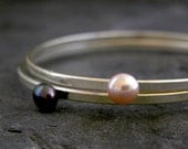 Bridal Silver Bangle with Delicate Freshwater Pearl - SET OF 2