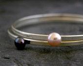 Silver Pearl Bridal Bracelet, Pearl Bridal Jewelry, Jewelry Set - Set of 2 Bracelets, Pearl Bangle, Wedding Jewelry, Pearl Jewelry