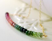 Genuine Tourmaline Necklace, Pink Greens, Semi Precious Gemstone Row, October Birthstone, Gold Jewelry, Free Shipping