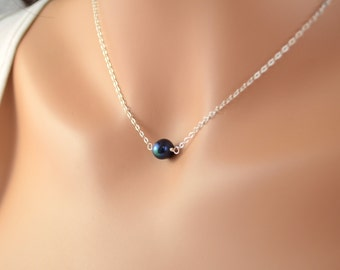 Choker Necklace, Dark Navy Blue Jewelry, Floating Pearl, Sterling Silver Choker, Midnight Blue, Genuine Freshwater Pearl, Free Shipping