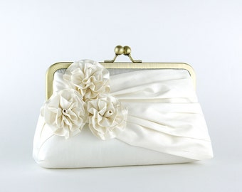 Bridal clutch, Roses Silk Clutch in Ivory, wedding clutch, wedding bag, Luxury Bridesmaid Gift