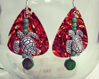 Tortoise Shell Guitar Pick Seaturtle earrings
