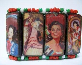 Viva Las Chicas - Bamboo Tile CuffBracelet