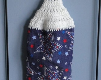 4th of July stars double sided crocheted kitchen towel