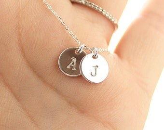 Two Initial Necklace, Sterling Silver Initial Necklace, Hand Stamped, Personalized Necklace, Mother's Necklace