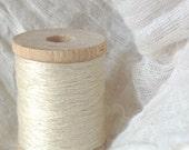 Silk embroidery thread. Eri silk. 2/60 count. 100 Yards Wood Bobbin. Milky White Color. 2 ply silk thread. Needlecraft