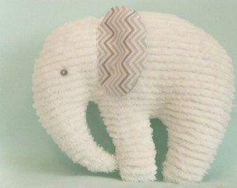 Stuffed Elephant, White Chenille body, ears are White with Grey Chevron Print