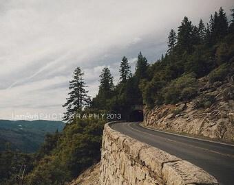 "Yosemite Photograph, Travel Nature Photo, Landscape Photography,  Evergreen, Travel Landscape Home Decor 8x10 8x8, ""Yosemite Tunnel"""