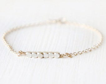 Silver and Gold Bracelet -  shimmering sterling silver everyday delicate bracelet - with 14K gold filled chain