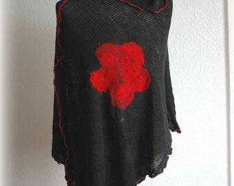 Black LINEN Poncho Knitted Felted Red Eco Friendly Wrap Sweater Linen Clothing Women Sweater   Romanitic Uniwersal Size