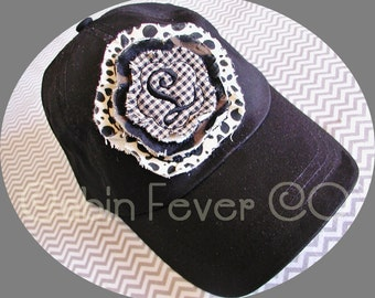 Baseball Cap, Ladies Hat, Monogrammed Cap in Black with Animal Print Frayed Flower and Initial, One Size Fits Most, More Colors Available