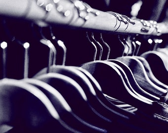 Black and White Fashion Photo, 35 mm Film Photo, Vintage Hangers Photo, Black and White, Fashion Lovers Photo, Catwalk, Clothes Hangers