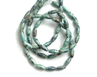 African  Turquoise barrel   beads,  (12x5mm) FULL STRAND