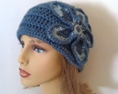 Cloche Flower Hat in Shades of Blue