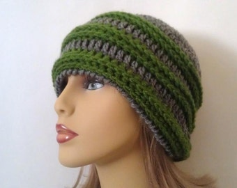 Green and Grey Striped Beanie Hat - For Women or Men