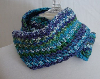 Crocheted infinity mobius scarf in turquoise and purple