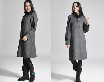 Ruffled  Wool dress with Handmade Buttons  /  Ethnic Style Wool Jacket/ 20 Colors/ RAMIES