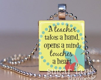 A Teacher Takes A Hand Necklace - (Yellow, Aqua Blue, Pink, Coral, Charcoal Gray) - Scrabble Tile Pendant with Chain
