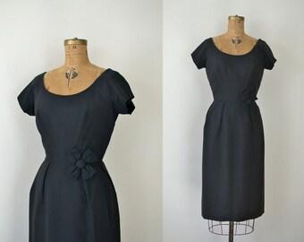 1960s Black Dress / 60s Silk Wiggle Dress