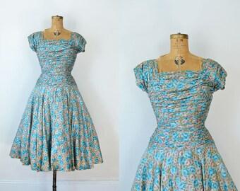 SALE! 1950s Party Dress / 50s Floral Dress