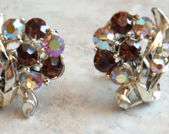 Rhinestone Earrings Silver Tone Topaz AB Clip On Vintage Estate 130430