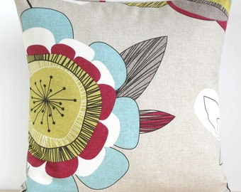 Pillow Cover 16 Inch Pillow Sham Flower Cushion Cover - Passiflora Raspberry