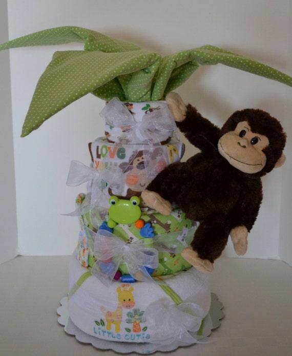Diaper cake palm tree gorilla jungle safari monkey baby cake