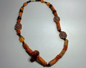 Etched Orange and Brown Wooden Beaded Necklace