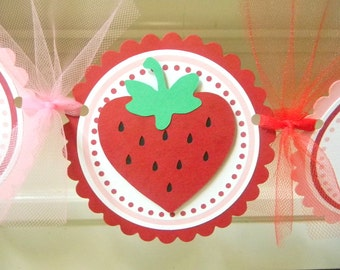 Strawberry Happy Birthday Party Banner ~ Pink and Red