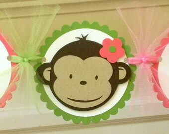 Girl's Mod Monkey Happy Birthday Party Banner