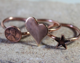 Copper Charm Stacking Rings