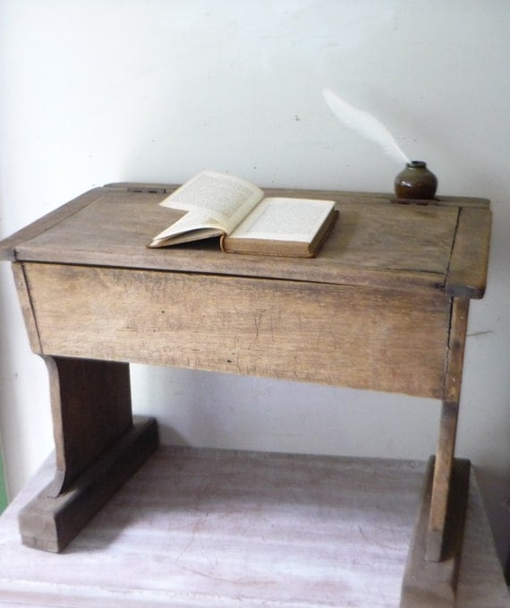 Antique Wooden School Desk PICK UP ONLY by thefoxandthespoon