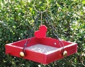 Reserved Listing for Uptick - I Heart Birds - Red Hanging Bird Feeder Tray