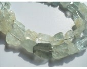 Aquamarine Rough Nuggets - Aquamarine Rough Nuggets - 12mm To 6mm Each - 7 Inch Strand - 18 To 20 Pieces Approx