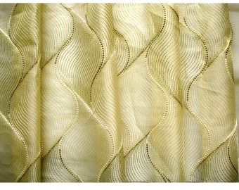 Gold Olive Green Chain Stitch Embroidery Sheer Curtain Panels Drapery  Window Treatment Fabric Grommet Curtain Window Curtain Bedroom Curtain