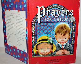 Mid Century Childrens Book Prayers for Children A Big Golden Book in Full Color 1952 Beautiful Illustrations Eloise Wilkin