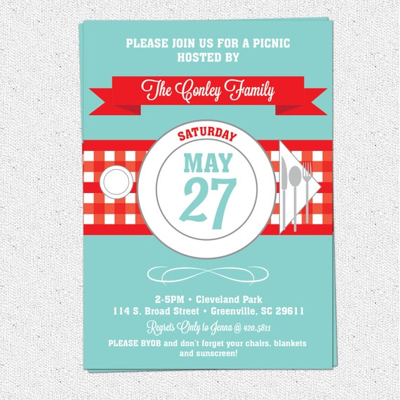 Items Similar To Picnic Invitation, Summer, BBQ, Barbecue