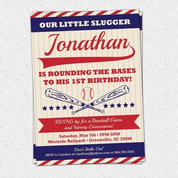 Vintage Baseball Birthday Invitations: Baseball Birthday Invitation Vintage Retro Child Boy