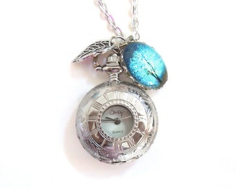 Sapphire Wind -- Charm -- Wearable Art Pocket watch necklace.tree necklace.tree locket