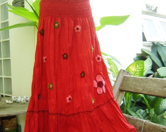 Nothing to Worry About Long Skirt III - RED