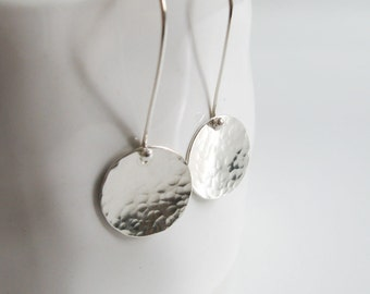 Hammered disc earrings - Silver disc dangle - Simple sterling silver Earrings