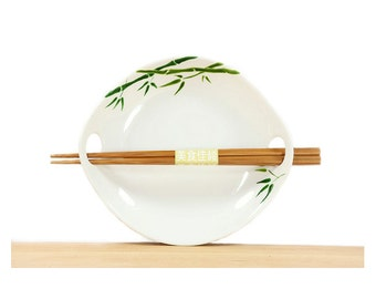 Hand painted  Serving Dish White ceramic With Chopstics Modern Asian Green Bamboo leaves botanical  Design Plate Kitchen Decor Minimal
