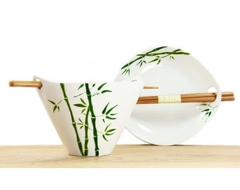 Hand Painted Ceramic Noodle Bowl With chopsticks green bamboo leaves botanical design modern minimalist white kitchen decor serving dish