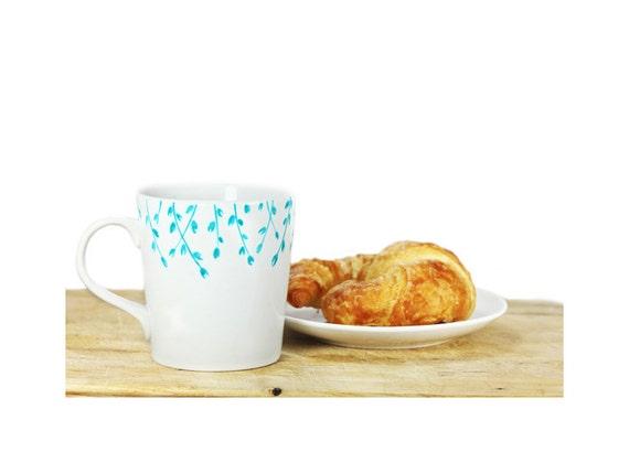Hand Painted Ceramic Mug Tea Cup With turquoise botanical design Minimalist modern white coffee cup  Decorative Ceramic Art